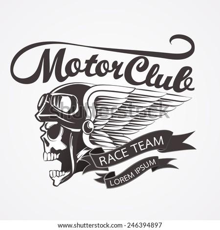 Motor skull crest graphic. - vector illustrator  - stock vector
