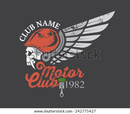 Motor skull sticker graphic and vector - stock vector