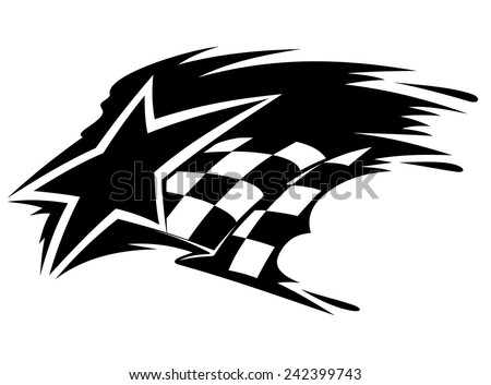 Motor sport icon with star and checkered flag with speed motion trails - stock vector