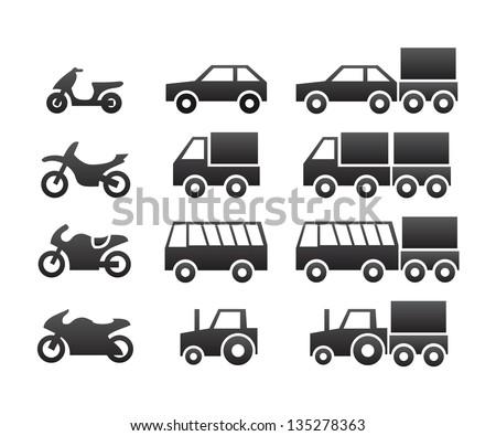 Motor vehicles icon set - stock vector