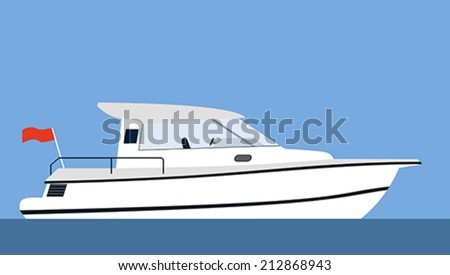 Motor yacht on blue background - stock vector