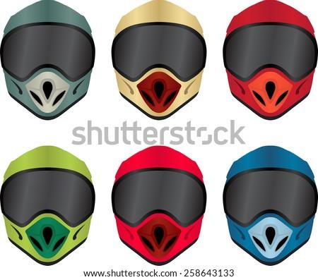 Motorbike helmet front view vector pack - stock vector