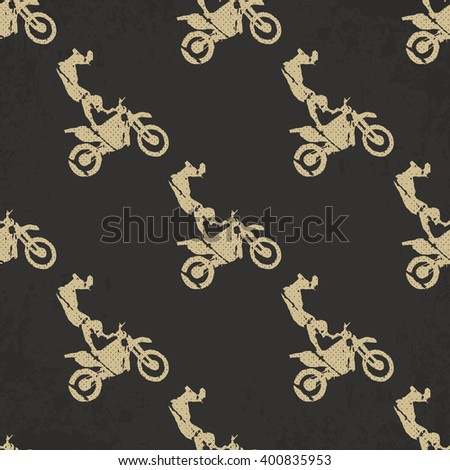 Motorbike pattern, Bikers Man illustration, image. Creative, luxury gradient color style image. Print label, banner, icon, book, cover, card, clothes, emblem, wrap, wrapping. Street art scratch design - stock vector