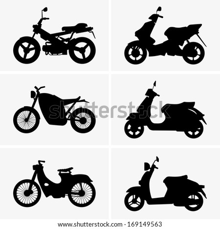 Motorbikes and scooters - stock vector