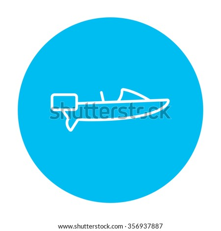 Motorboat line icon for web, mobile and infographics. Vector white icon on the light blue circle isolated on white background. - stock vector