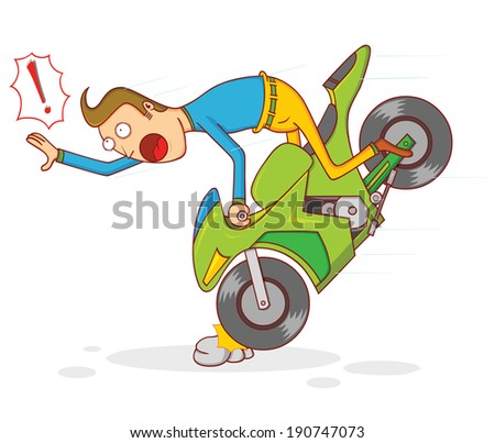 motorcycle accident - stock vector