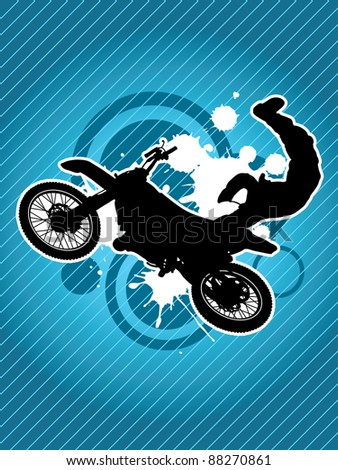 Motorcycle and the biker silhouette on the grunge red background - stock vector
