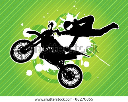 Motorcycle and the rider silhouette on the grunge green background - stock vector