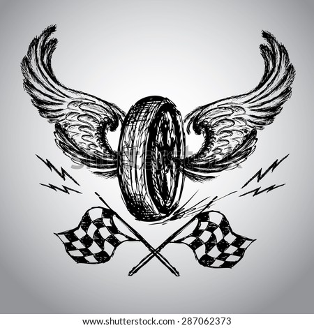 Motorcycle bike label with wings, flames and flag vector illustration - stock vector
