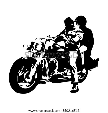 Motorcycle chopper, couple on motorbike, vector drawing - stock vector