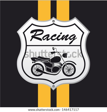 motorcycle design over black background vector illustration - stock vector