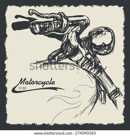 Motorcycle design over black background, vector illustration. - stock vector
