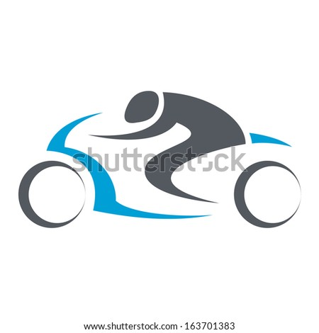 motorcycle driver isolated illustration in black lines - stock vector