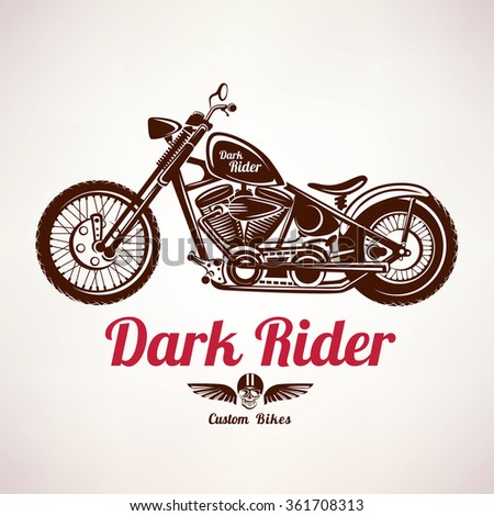 motorcycle grunge vector silhouette, retro emblem and label - stock vector