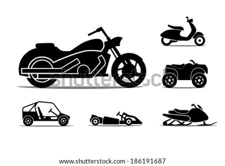 Motorcycle Icon Set - stock vector