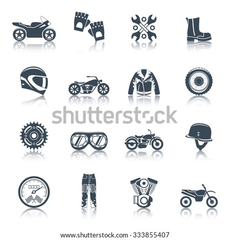 Motorcycle icons black set with transportation symbols isolated vector illustration - stock vector