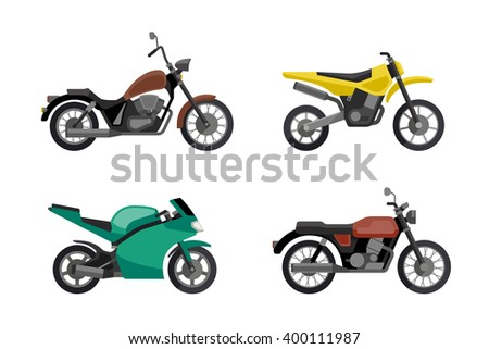 Motorcycle icons set in flat style. Vector illustrations of different type motorcycles. - stock vector
