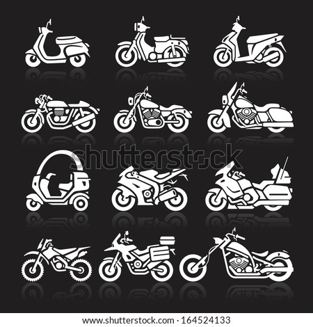 Motorcycle Icons set. Vector Illustration. - stock vector