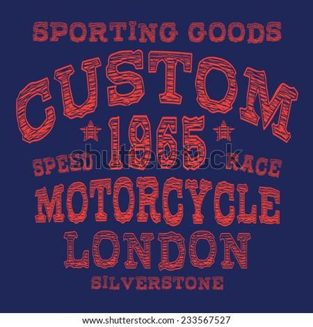 Motorcycle London typography, t-shirt graphics, vectors - stock vector