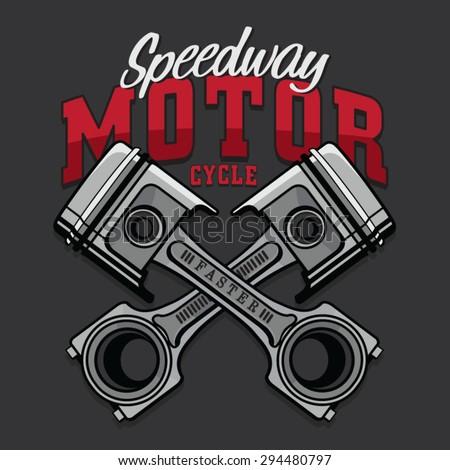 Motorcycle piston typography, t-shirt graphics, vectors - stock vector