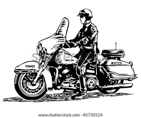 Motorcycle policeman - stock vector