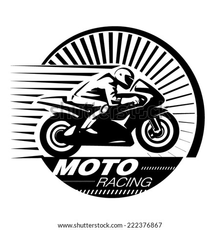 Motorcycle racer. Vector illustration in the engraving style - stock vector
