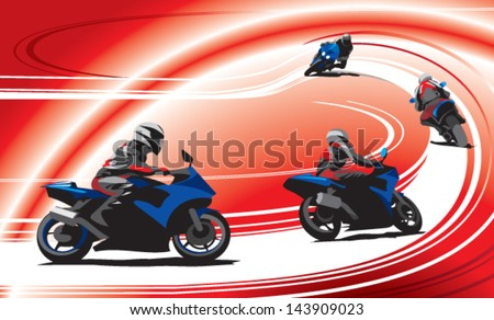 motorcycle racers on the track, red background - stock vector