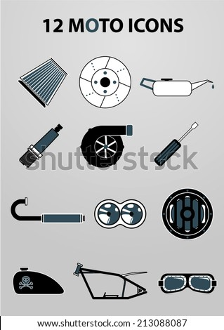 Motorcycle vector icon set - stock vector