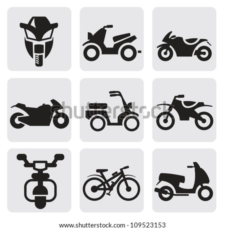 motorcycles and bicycles set - stock vector