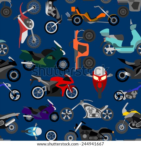 Motorcycles background, seamless. Vector illustration - stock vector