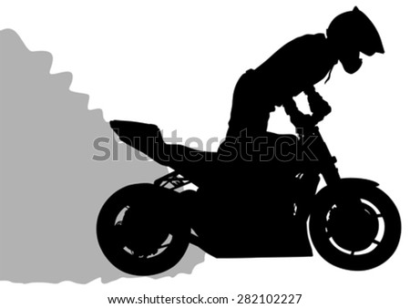 Motorcyclist performed extreme stunts on a white background - stock vector