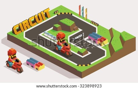 Motorway Circuit Race Track Land - stock vector