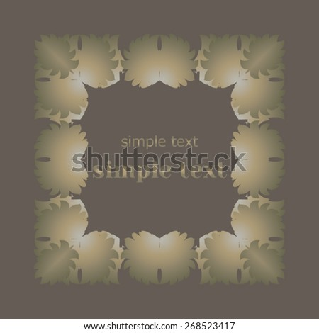Mottled, muted, mysterious brown beige square frame on a dark background. - stock vector