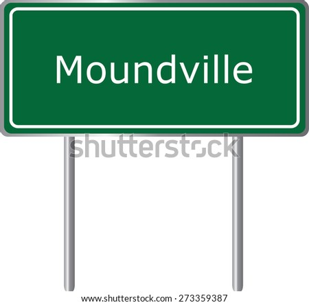 Moundville, Alabama, road sign green vector illustration, road table, USA city - stock vector
