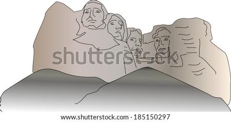 Mount Rushmore - stock vector