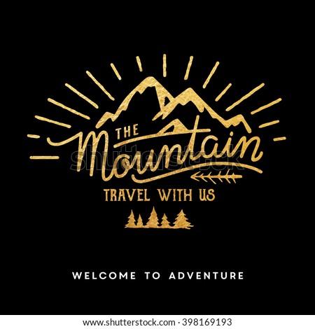 Mountain adventure lettering - stock vector