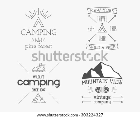 Mountain and family forest camp badge, logo and label template. Travel, hiking, climbing style. Outdoor monochrome and line design. Best for adventure sites, travel blogs. On white background. Vector. - stock vector