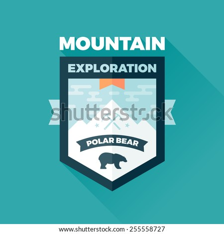 Mountain and polar bear badge graphic emblem - stock vector