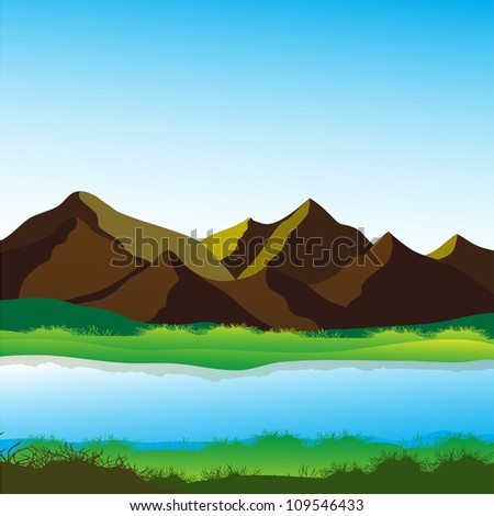Mountain and river, calming landscape vector image - stock vector