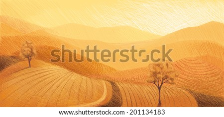 Mountain and Valley - stock vector