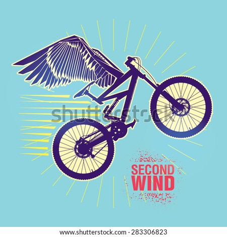 "Mountain bike. Vector illustration created in topic ""Second wind "" - stock vector"