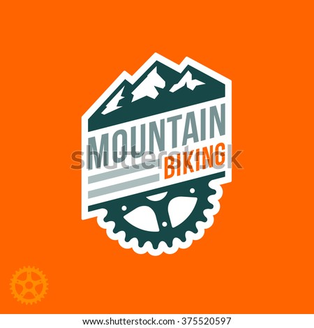 Mountain biking badge logo with graphic accents - stock vector
