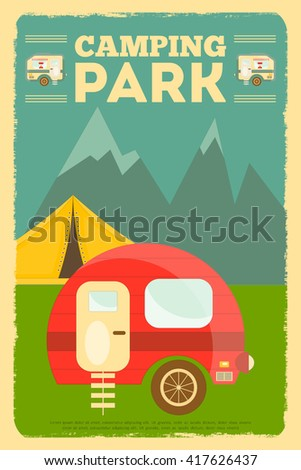 Mountain Camping with Family Trailer Caravan. Campsite Landscape with RV Traveler Truck and Tent. Outdoor Traveling Vacation. Retro Style. Vector Illustration. - stock vector