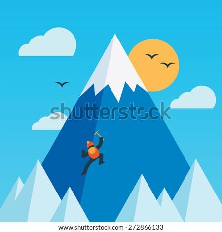 Mountain climber. Vector illustration. - stock vector