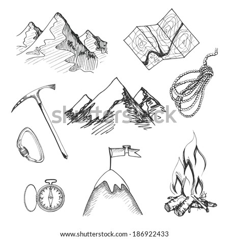 Mountain climbing camping decorative icon set with map ...