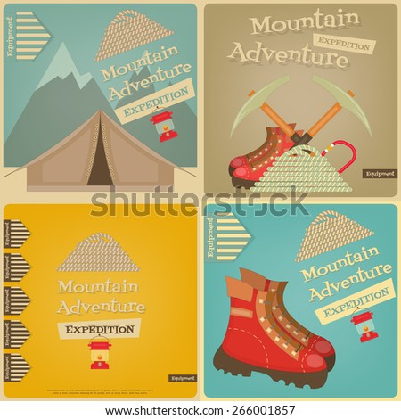 Mountain Climbing Cards Collection. Camping and Hiking Elements. Vector Illustration. - stock vector