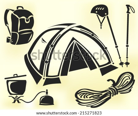 Mountain climbing gear vector set: tent, helmet, pair of hiking poles, cookware, rope, backpack - stock vector