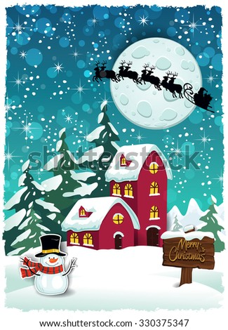 Mountain cottage snowy at Christmas with Santa's sleigh-Transparency blending effects and gradient mesh-EPS 10 - stock vector