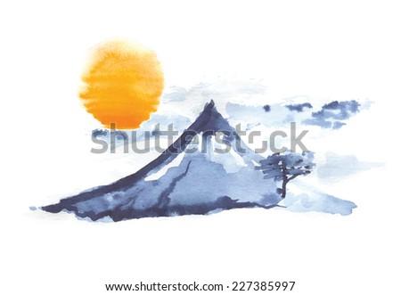 Mountain Fuji and sun, volcano, japanese art, vector illustration - stock vector