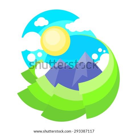 Mountain Green Grass Sun Landscape Forest Park Blue Sky Circle Concept Logo Flat Vector Illustration - stock vector